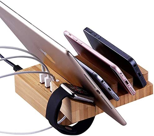 Bamboo Charging Station Cell Phone Holder Mount Stand Organizer for Apple iPhone iPad iWatch product image