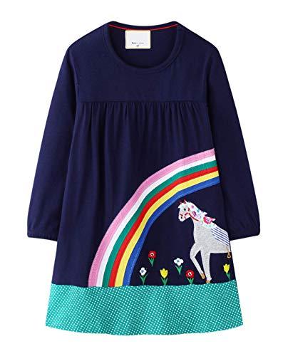 Ohbabyka Little Girls Cute Casual Baumwolle Tiere Gedruckt Streifen Langarm Playwear Kleid (7T, GDS578-A)