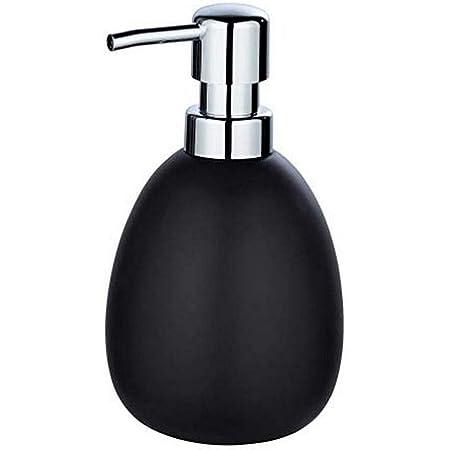 WENKO Distributeur de savon Polaris noir mat - Distributeur de savon liquide Capacité: 0.39 l, Céramique, 9.5 x 16 x 9 cm, Noir