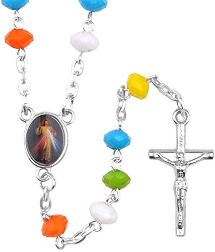 LKLFC Necklace for Women Men Colorful 4X7Mm Acrylic Beads Cross Necklace Glass Bottle Religious Gifts Jesus Catholic Children RosaryPendant Necklace Girls Boys Gift