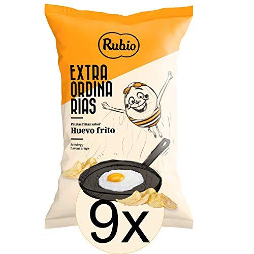 9 x Rubio Chips Mix Box Spiegelei, Grosspackung, Kartoffelchips Tüten, Geschenk Set, Chipstüten, 115 g