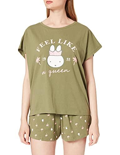 Women' Secret Pijama Corto Estampado Miffy Verde, Kaki Claro, L para Mujer