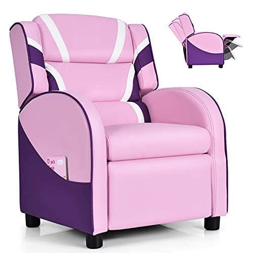 Costzon Kids Recliner, Gaming Recliner Chair w/Footrest, Headrest, Lumbar Support & Side Pockets, Ergonomic Leather Lounge Chair for Living & Gaming Room, Adjustable Recliner Sofa for Boys Girls, Pink