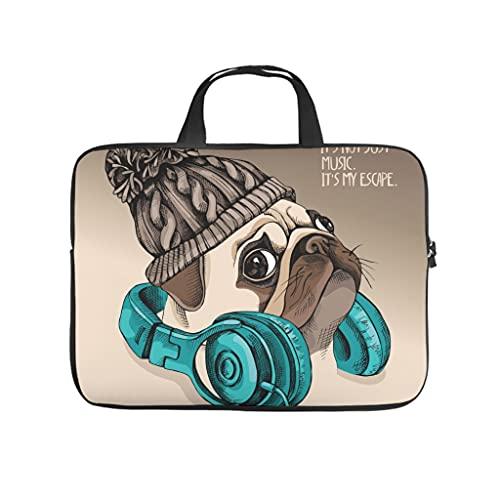 Funda para portátil con diseño de perro carlino, resistente a los arañazos, de neopreno, para niñas y niños, blanco, 15 pulgadas,