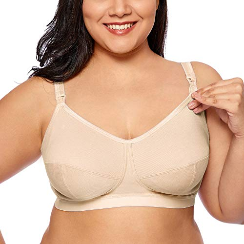 Gratlin Women's Plus Size Wirefree Cotton Maternity Nursing Bra Softcup Supportive Beige 38F