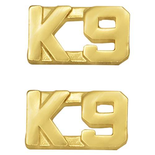 Smith & Warren 3/8' K 9 Letter Collar Brass Rank Insignia Gold Finish Police or Fire Uniform Pin