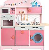 small foot 11465 Kinderküche 'Mädchentraum' aus Holz, Multifunktionsküche in Rosatönen, mit viel Zubehör, ab 3 Jahren