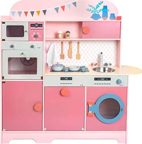 11465 Cocina infantil, Sueño de niña, small foot, de madera, cocina multifuncional, juego de rol , color modelo surtido