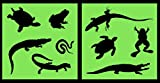 Auto Vynamics - STENCIL-REPTILESET01-10 - Detailed Lizards & Reptiles Stencil Set - Featuring Snakes, Frogs, Turtles, Gators, More! - 10-by-10-inch Sheet - (2) Piece Kit - Pair of Sheets