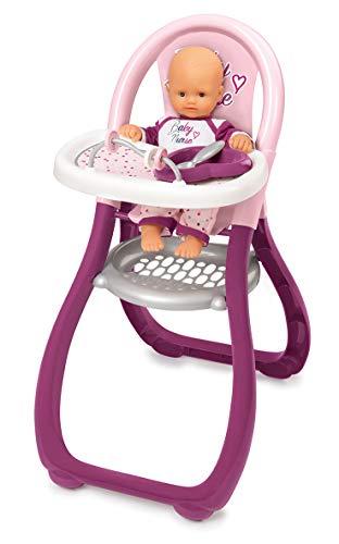 Smoby 220342 Baby Nurse Puppenhochstuhl Puppenstuhl mit Teller und Löffel, Puppen-Zubehör für Puppen bis 42 cm für Kinder ab 18 Monaten, rosa, lila