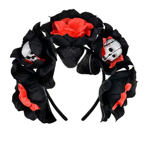 Merroyal - Diadema de flores estilo Frida Khalo, tocado de estilo mexicano para el Día de Muertos, fiestas de disfraces Negro Calavera negra y roja Talla única