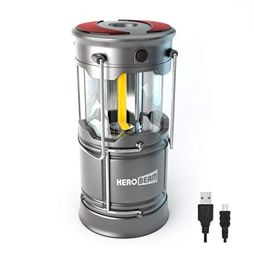 HeroBeam V3 LED Rechargeable Lantern - The Ultimate Collapsible Tough Lamp for Camping, Fishing, Car, Garage and Emergencies - Magnetic Lantern, Flashlight and Emergency Beacon in One!