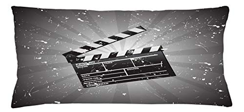 ABAKUHAUS Movie Theater Throw Pillow Cushion Cover, Clapper Board on Retro Backdrop Grunge Effect Director Cut Scene, Decorative Square Accent Pillow Case, 36 X 16 Inches, Grey Black White