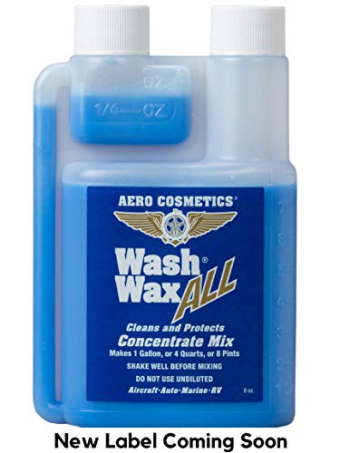 Aero Cosmetics Wet or Waterless Car Wash Wax Concentrate 8 oz Makes 1 Gallon Aircraft Quality Wash Wax for Your Car RV & Boat.