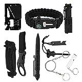 Outdoor Survival Tool Kit, Hole Whistle Plastic+Metal Powerful Torch Survival Bracelet
