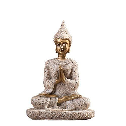 Statue Charaktere Skulptur Harz Natursandstein-Fertigkeit-Dekoration Sitzender Buddha Skulptur Glück Wasser Dekoration Schreibtisch Wohnzimmer Kaffee Tablele 8 * 5.5 * 3cm Skulpturen
