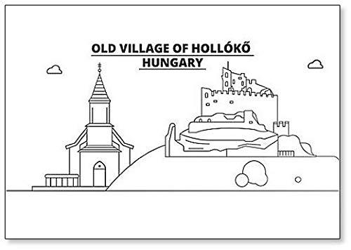 Ungarn – Holloko Old Village Minimalistische Illustration Klassischer Kühlschrankmagnet