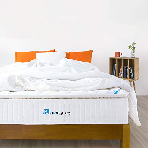 HomyLink Mattress with Pillow Top Pocket Spring Memory Foam Mattresses Single Double 9-Zone Orthopaedic 27cm Height 3FT 4FT6 (Pocket Sprung + 5cm Pillow Top FBM, Small Double (120 x 190 cm))