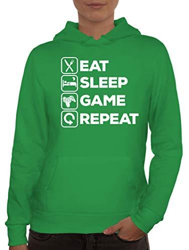 ShirtStreet Geschenkidee für Gamer Gaming Fans Damen Hoodie Frauen Kapuzenpullover Controller - Eat Sleep Game Repeat, Größe: L,Kelly Green