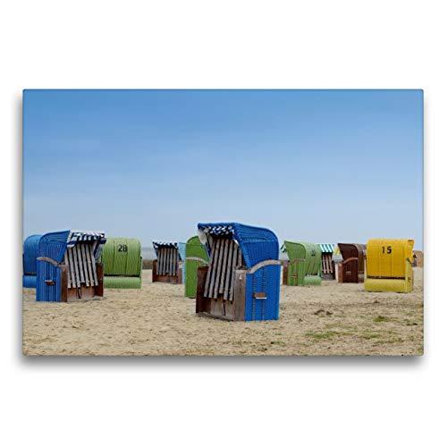 Premium Textil-Leinwand 75 x 50 cm Quer-Format Strandkörbe in Dangast | Wandbild, HD-Bild auf Keilrahmen, Fertigbild auf hochwertigem Vlies, Leinwanddruck von Christian Lindau