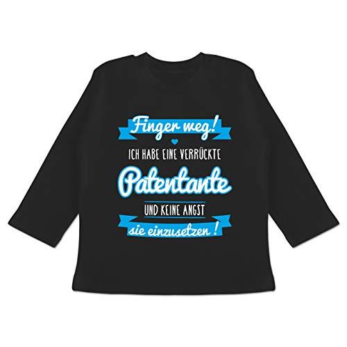 Sprüche Baby - Ich Habe eine verrückte Patentante blau - 12/18 Monate - Schwarz - Patentante Shirt Baby - BZ11 - Baby T-Shirt Langarm