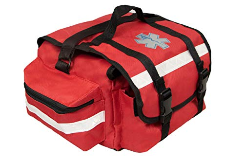 Primacare KB-RO74-R First Responder Bag for Trauma, Professional Multiple Compartment Kit Carrier for Emergency Medical Supplies, Red, 17x9x7 inches