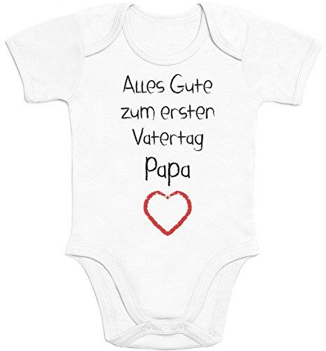 Shirtgeil Alles Gute zum ersten Vatertag Papa Herz - Vater Geschenk Baby Kurzarm Body 0-3 Months Weiß