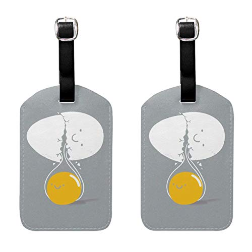 JOJOshop LOL You Crack Me Up Fried Egg Luggage Tag PU Leather Bag Tag Travel Suitcases ID Identifier Baggage Label 2 Piece