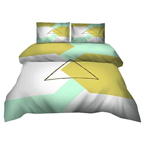 QHDXL Funda Nordica Triángulo Amarillo Blanco Juego de Ropa de Cama Suave y Transpirable 1 Microfibra Funda Nórdica y 2 Fundas de Almohada, Fundas Nórdicas(240x260cm)