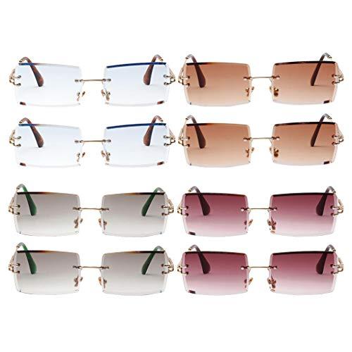 Milageto Gafas de Sol Sin Montura de 8 Piezas Clásico Diseñador de Fiesta con Lentes Teñidas