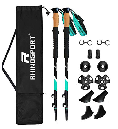 RHINOSPORT Bastones de senderismo para marcha nórdica de 100 cm hasta 135 cm, ajustables, aleación de aluminio 7075, con bolsa y accesorios, para mujer, hombre y niños