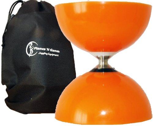 Flames N Games Diabolos Sundia Fly Diabolo Groß (Orange) Freiläufer (mit Dreifache kugellager) +Reisetasche! *Ohne Handstäbe.