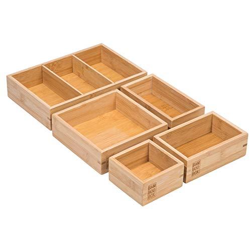 BamBooBox Aufbewahrungsboxen aus Bambus - 5 teiliger Schubladen Organizer - Ordnungssystem für Schublade, Büro, Küche, Werkstatt, Schmuck oder Makeup