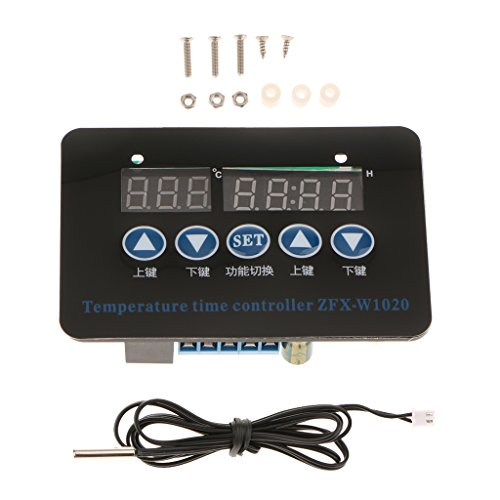 Milageto Sonda De Sensor NTC De Termostato De Controlador De Tiempo De Temperatura Digital De Doble Etapa - Negro-220v