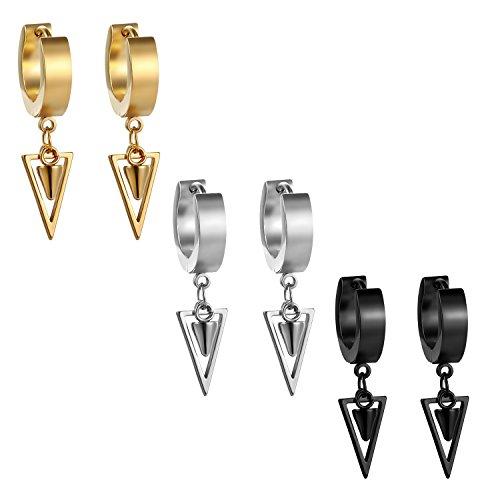 JewelryWe Schmuck 3 Paar Damen Herren Creolen Ohrringe Edelstahl Geometrisches Dreieck Huggie Kreolen Ohrstecker Ohrhänger, Silber Gold Schwarz