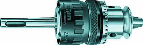 Key-Type Hammer Drill Chuck with SDS-Plus Adapter Take-Up, Röhm 600581 Carbide Insert, 2.5-13mm Capacity, 42.9mm Diameter, Type 129-00 HBF 13