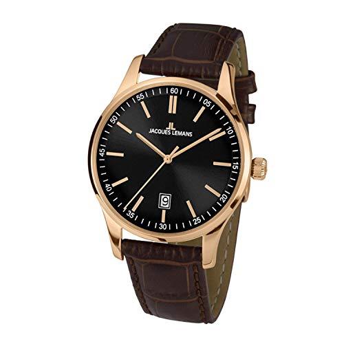 Jacques Lemans Herren-Uhren Analog Quarz One Size Schwarz 32016856