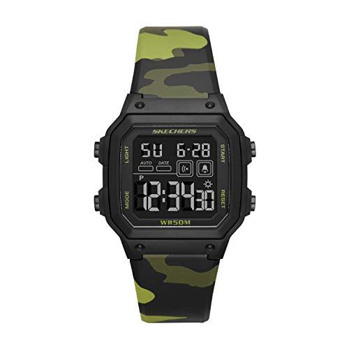 Skechers Men's Hosford Silicone Digital Watch, Color: Green Camo (Model: SR5133)