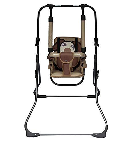 Columpio 2 en 1 para bebés, balancín, balancín de habitaciones, columpio de jardín; interior / exterior, balancín y trona en uno marrón perro