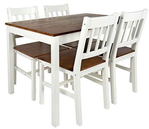Merkell Conjunto de Madera Mesa y 4 sillas, a la Sala de Estar, Comedor Estilo rústico White Walnut