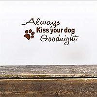 ウォールステッカーデカール キスあなたの犬おやすみ壁壁レタリングステッカーアートペット装飾単語動物ギフトクリエイティブ 66X 30 センチメートル 壁画家の装飾
