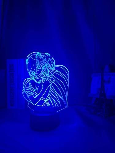 Lámpara de noche 3D Acrílico Led Noche Luz Lámpara Anime Elfen Lied Lucy NYU Figura Escritorio 3D Lámpara para Niños Habitación de Niño Decorativa Nightlight Manga Gift-Fernbedienung