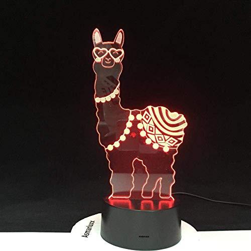 3D-Illusionslampe führte Nachtlicht Alpaka-Spielzeug Geschenk Lama Batteriebetriebene Weihnachtsleuchte für Heimtextilien