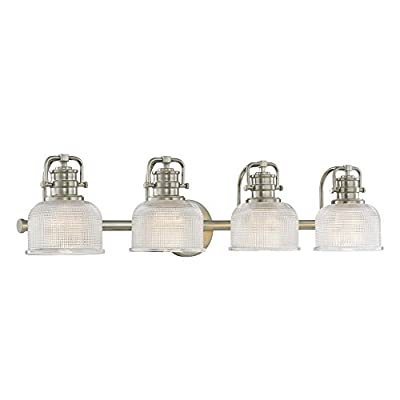 Prismatic Glass 4-Light Bathroom Light in Satin Nickel Finish