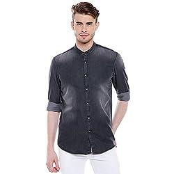Dennis Lingo Mens Denim Grey Slim Fit Casual Shirt