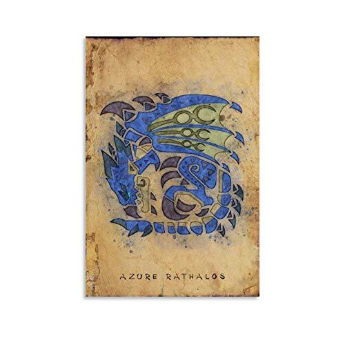 luoshi Azurblauer Drachen-Poster, dekoratives Gemälde, Leinwand, Wandkunst, Wohnzimmer, Poster, Schlafzimmer, Gemälde, 50 x 75 cm