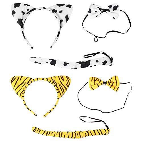 PIXNOR 2 Juegos de Orejas de Tigre de Dibujos Animados Cinta para La Cabeza Pajaritas Colas Niños de Peluche Mullido Relleno Vaca Tocado de Pelo Aro Etapa Tocado de Fiesta Disfraz