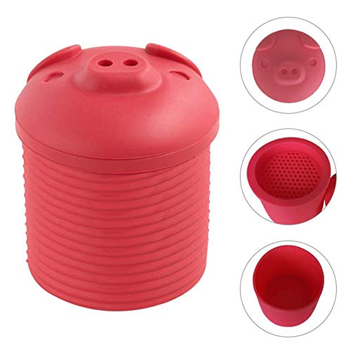 Sanmubo Cartoon Pig Shaped Silicone Bacon Grease Leacher Bacon Grease Collector Bacon Grease Storage Container Bin Bacon Grease Strainer and Collector, (8 oz, Bright Pink)