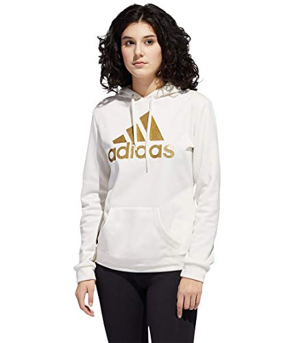 adidas womens Game & Go Pullover Hoodie Chalk White/Metallic Gold Medium