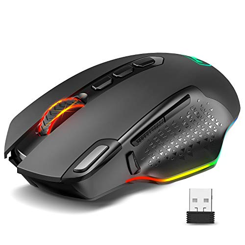 Gaming Mouse Wireless, VicTsing Rechargeable Gaming Mouse with 9 RGB Lighting Modes, 10000 DPI, 10 Programmable Buttons and 1000mA Built-in Battery, Ideal for FPS PC Computer Laptop Gaming Players